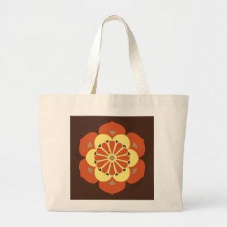 Lotus Flower Mandala, Brown, Rust and Yellow Large Tote Bag