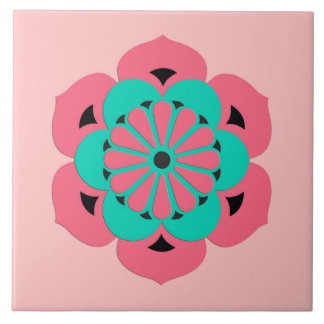 Lotus Flower Mandala, Coral Pink and Turquoise Ceramic Tiles