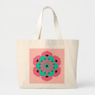 Lotus Flower Mandala, Coral Pink and Turquoise Large Tote Bag