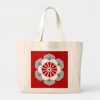 Lotus Flower Mandala, Dark Red, Gray and White Large Tote Bag
