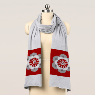 Lotus Flower Mandala, Dark Red, Gray and White Scarf