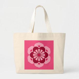 Lotus Flower Mandala, Fuchsia Pink and Burgundy Large Tote Bag