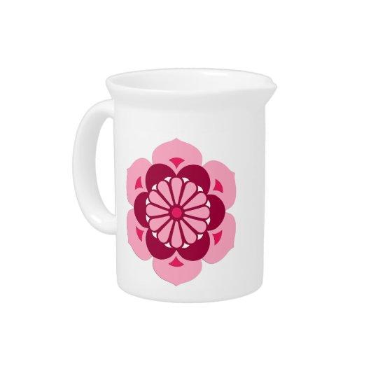 Lotus Flower Mandala, Fuchsia Pink and Burgundy Pitcher
