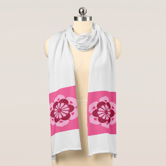 Lotus Flower Mandala, Fuchsia Pink and Burgundy Scarf