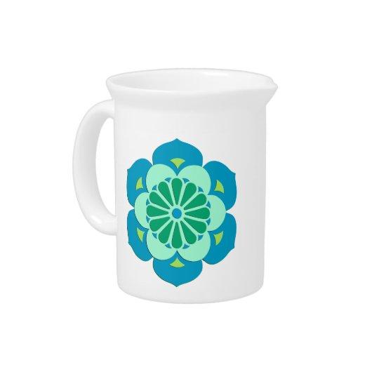 Lotus Flower Mandala, Lime Green and Light Blue Pitchers