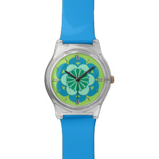 Lotus Flower Mandala, Lime Green and Light Blue Wristwatch