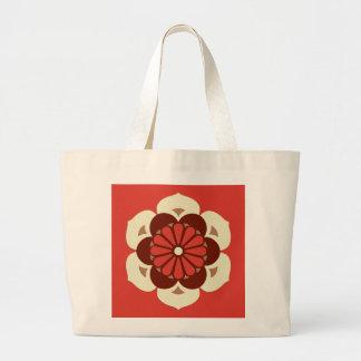 Lotus Flower Mandala, Mandarin Orange Large Tote Bag
