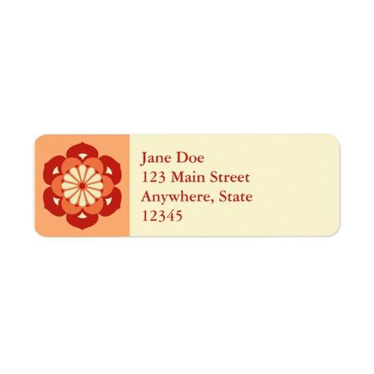 Lotus Flower Mandala, Pastel Orange and Mandarin Return Address Label