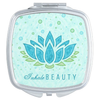 Lotus Flower Meditation Yoga Inhale Beauty Pretty Mirror For Makeup