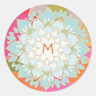 Lotus Flower Monogrammed Sticker