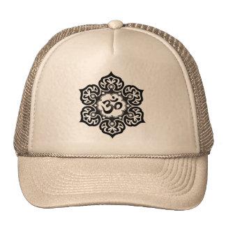 Lotus Flower Om Design - black Hats