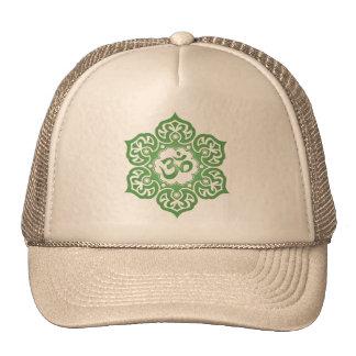 Lotus Flower Om Design - green Hats