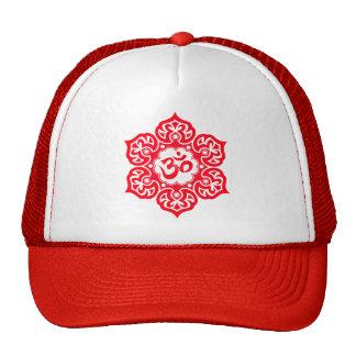 Lotus Flower Om Design - red Mesh Hat