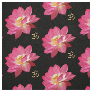 Lotus Flower Om Fabric blk