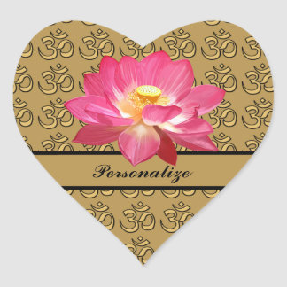 Lotus Flower OM Gold Heart Sticker