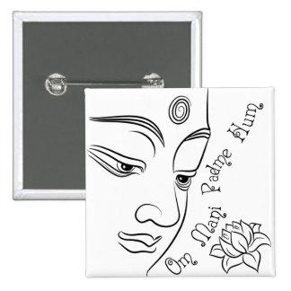 Lotus flower Om Mani Padme Hum Black 2 Inch Square Button