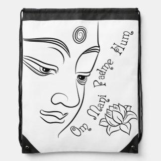 Lotus flower Om Mani Padme Hum Black Drawstring Bag