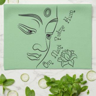 Lotus flower Om Mani Padme Hum Black Hand Towels