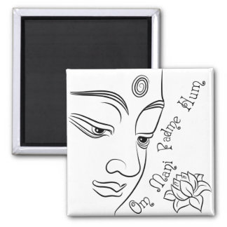 Lotus flower Om Mani Padme Hum Black Square Magnet