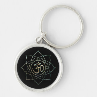 Lotus Flower Om Silver-Colored Round Keychain