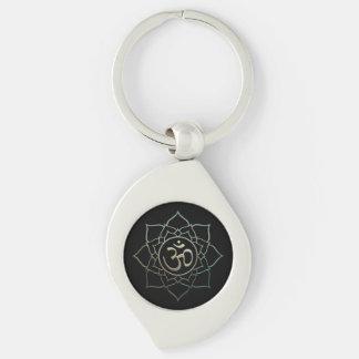 Lotus Flower Om Silver-Colored Swirl Keychain