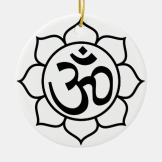 Lotus Flower Om Symbol Round Ceramic Ornament