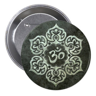Lotus Flower Om with Aged Steel Effect Pinback Button