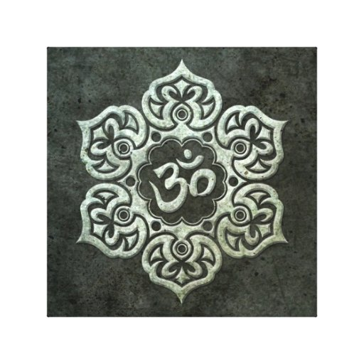 Lotus Flower Om with Aged Steel Effect Gallery Wrapped Canvas