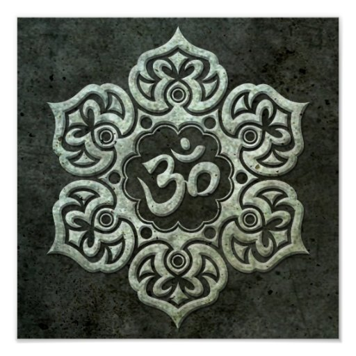 Lotus Flower Om with Aged Steel Effect Print
