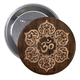 Lotus Flower Om with Wood Grain Effect Pinback Buttons