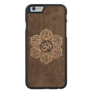 Lotus Flower Om with Wood Grain Effect Carved Maple iPhone 6 Case
