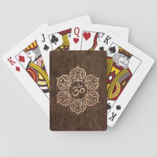 Lotus Flower Om with Wood Grain Effect Poker Cards