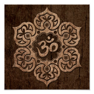 Lotus Flower Om with Wood Grain Effect Poster
