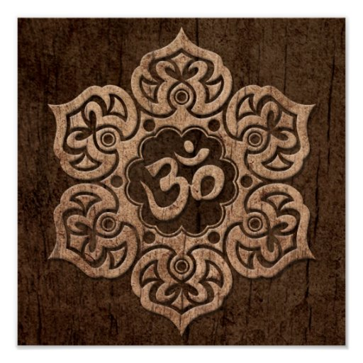 Lotus Flower Om with Wood Grain Effect Posters