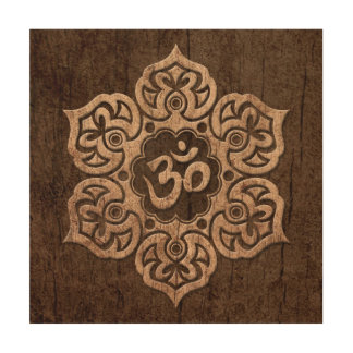 Lotus Flower Om with Wood Grain Effect Wood Canvas