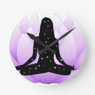 Lotus Flower Round Clock