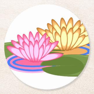Lotus flower round paper coaster