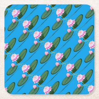 Lotus flower square paper coaster