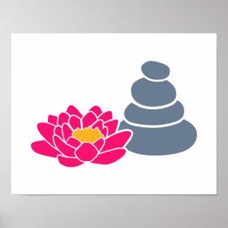 Lotus flower stones poster