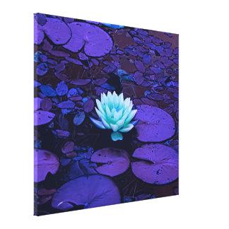 Lotus Flower Turquoise Purple Pond Zen Canvas Print
