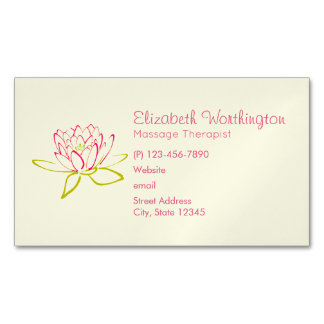 Lotus Flower / Water Lily Illustration Magnetic Business Card