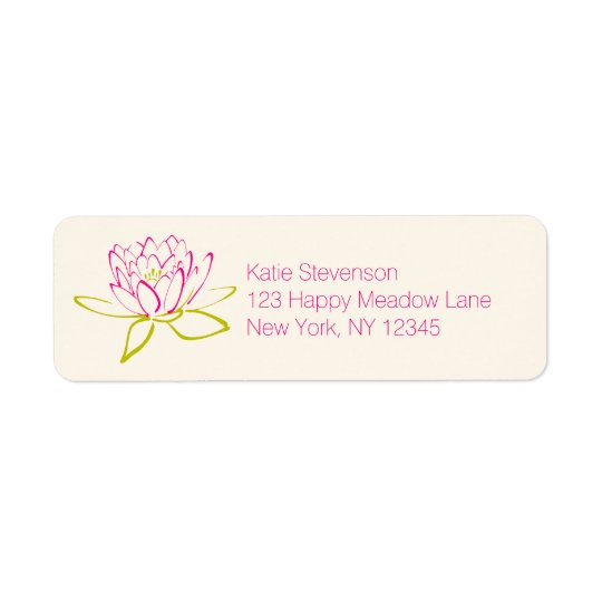 Lotus Flower / Water Lily Illustration Return Address Label