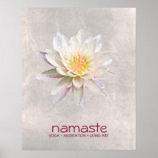 Lotus Flower Watercolor Namaste Yoga Meditation Poster