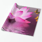 Lotus Flower with Butterfly Insect Wrapping Paper