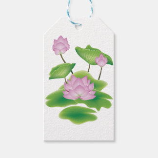 Lotus Flower with Leaves Gift Tags
