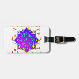Lotus Flower With Yoga Positions Bag Tag