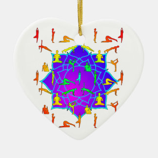 Lotus Flower With Yoga Positions Ceramic Heart Ornament
