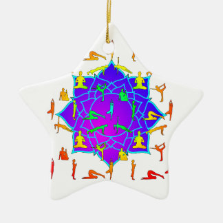 Lotus Flower With Yoga Positions Ceramic Star Ornament