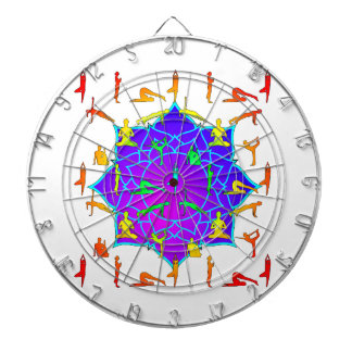 Lotus Flower With Yoga Positions Dartboard
