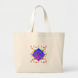 Lotus Flower With Yoga Positions Large Tote Bag